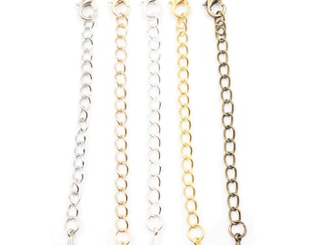 10 PCS Stainless Steel Chain Extenders Set for Necklace Bracelet Jewelry, 5 Assorted Colours
