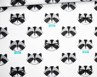 Raccoon, 100% cotton fabric printed 50 x 160 cm heads gray raccoon, turquoise butterfly on white background