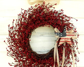 Summer Wreath-4th of July Wreath-Summer Door Wreath-AMERICANA DOOR Wreath-Patriotic Wreath-July 4th Wreath-Holiday Wreath-Military Decor