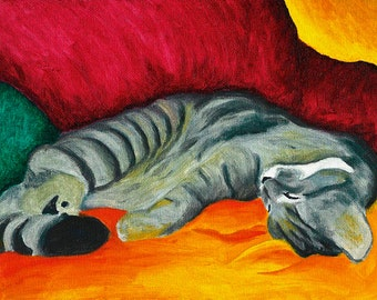Cat Nap Gray Sleeping Tabby Cat Signed Art PRINT of Original Oil Painting Artwork by Vern Different Sizes Available