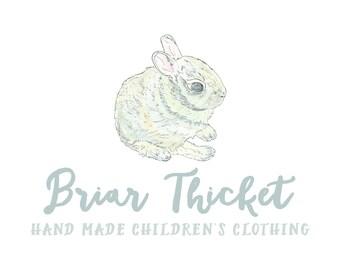 Watercolor Business Logo // Bunny Logo // Premade Logo Design