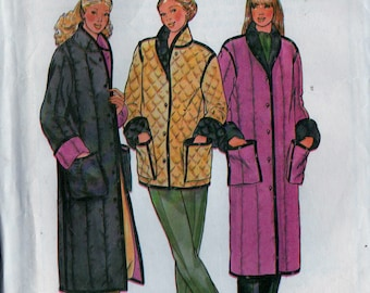Vintage Sewing Pattern Butterick 6697 Women's Loose-fitting, Reversible Unlined Jacket and Coat - Sz. Small (8-10) 31.5 - 32.5 Bust - Uncut