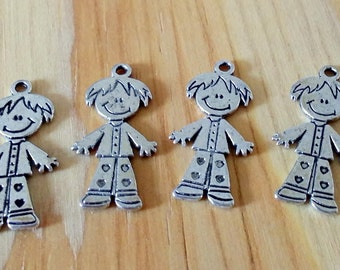 5 Antiqued Silver Little Boy Charm | Boy Charm
