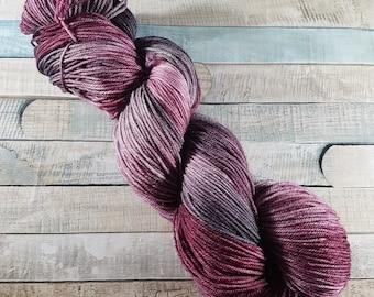 "Hand Dyed, MCN, Merino, Cashmere, Nylon, Sock Yarn, 100g, ""Wicked Heart"", socks, wool, merino wool, knitting, crochet, knit"