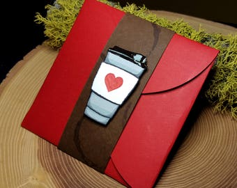 GiftCard Halter, Kaffee Giftcard-Halter, rote Giftcard-Halter, Giftcard Umschlag, Valentinstaggeschenk, Valentinstag Kaffee Giftcard Halter