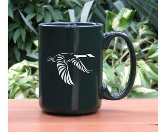 Goose Coffee Mug / Free Personalization / Personalized Gift / Bird 15 oz Etched Ceramic Coffee Mug / Tea Coffee or Hot Chocolate Mug