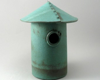 Bird House, Ceramic Bird House, Garden Decor, Teal