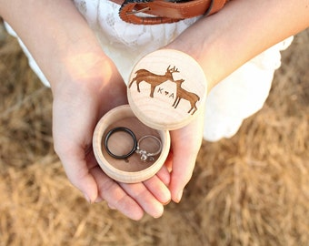 Kissing Buck and Doe Ring Box | Keepsake Ring Box | Engraved Rustic Wedding Ring Box | Camo Wedding | Free Shipping