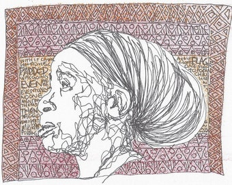 Abstract line drawing portrait - Paulette and other words