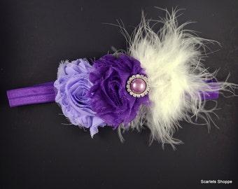 Purple Headband  - Lavender Headband - Feather Headband - Baby Headband - Toddler Headband - Adult Headband - Fancy Purple Headband