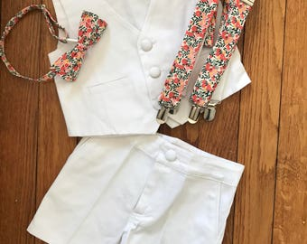 Suit boy cotton shorts vest white child of honor procession bearer wedding ring