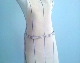 Rustic Antique Grainsack Linen natural Hemp Apron with lilac green blue stripe