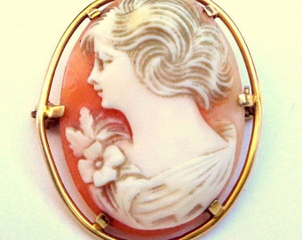 10k Gold Setting, Antique, Hand Carved, Conch Shell, Cameo Brooch