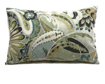 Decorative Lumbar Pillow Cover Paisley Design Shades of Green White Brown Gray Blues Toss Throw Accent 12x18 inch  x