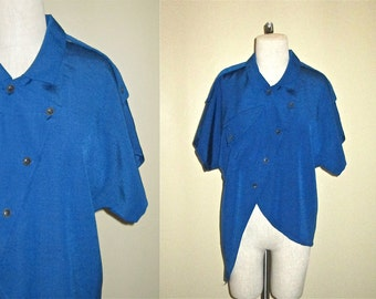 Vintage 80's / 90's hipster top BLUEBERRY ASYMMETRIC oversized slouch shirt - M/L