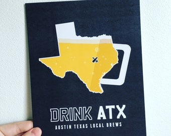 Austin, Texas, Austin Texas, Austin Art, Austin Beer, Austin Beer Print, Austin Poster, Austin Print, Texas Print, Texas Art, Texas Poster