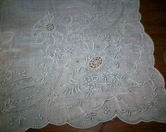 Vintage white/slate embroidery wedding hanky
