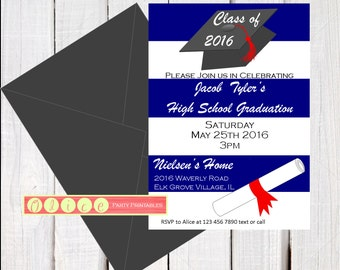 2016 Graduation invitation - graduation party invite - high school graduation - college graduation - 8th grade graduation - class of 2016
