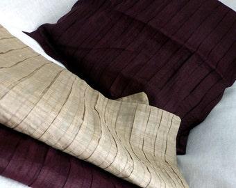 Silk Pleated Cushion Cover in Dark Plum Eggplant or Beige - Accent Throw Pillow Cover - Home Decor Decorative Cushions