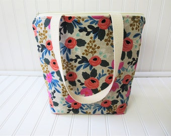 Insulated Lunch Tote - Floral Lunch Bag - Deluxe Lunch Tote - Lunch Tote Bag - Large Lunch Tote - Gift for Her - Floral Lunch Tote