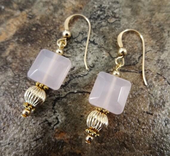 Natural Rose Quartz Gemstone Earrings in 14k Gold Fill
