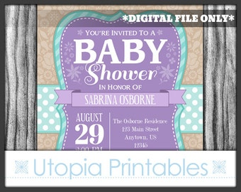 Teal Purple Baby Shower Invitation Country Rustic Cute Floral Flowers Theme Digital Printable 5x7 Brown White Lavender Turquoise Aqua Blue