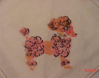 Vintage Hand Painted Pink Poodle Handkerchief  18 - 47