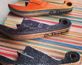 Recycled Repurposed Wooden Skateboard Bottle Opener Upcycled Handmade by Steve Duque, Duque Skate Art