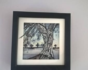 Framed original watercolour, Tree Painting