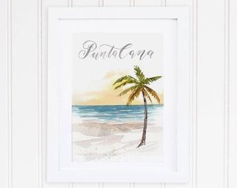 Watercolor Punta Cana Dominican Republic Print | Punta Cana Beach Watercolor Art | Ocean Palm Tree Painting | Caribbean Watercolor