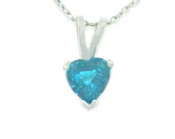 1 Carat London Blue Topaz Heart Pendant .925 Sterling Silver Rhodium Finish