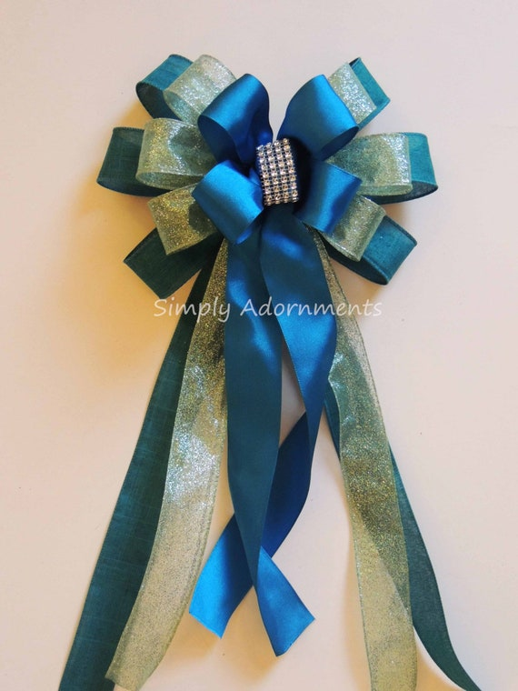 Teal Blue Peacock Wedding Pew Bow Peacock Themed Party Decoration Teal Blue Wedding Church Pew Bow Teal Blue Gift Bow