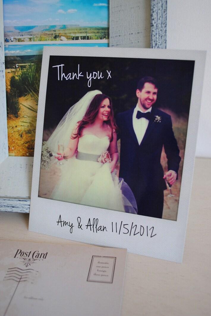 Personalised instant photo wedding thank you cards - Polaroid karten ...