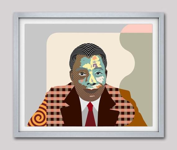 James Baldwin Art, James Baldwin Poster, James Baldwin Print, Writer Poet Activist, Black History Art, African American Gift