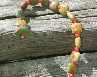 Lovely Southwestern Green Turquoise and Red Trade Bead Bracelet