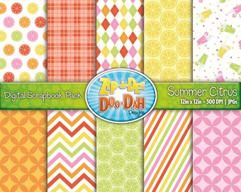Summer Citrus Digital Scrapbook Paper Set {Zip-A-Dee-Doo-Dah Designs}