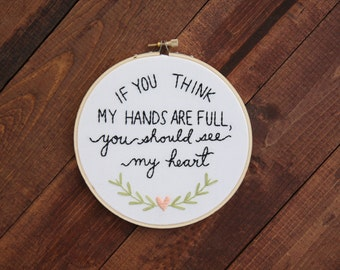 Full Heart Embroidery Hoop Art