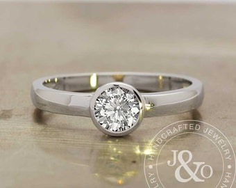 Bezel Set Engagement Ring 0.60 Carat Low Profile Engagement Ring in 14k White Gold / white gold engagement ring / Solitaire Engagement Ring