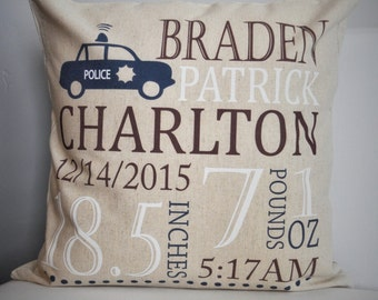 Personalized birth pillow cover, birth Announcement pillow cover, birth pillow cover, baby birth pillow, Police nursery