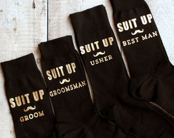 Suit Up Wedding Sock Gift Set for Best Man | Usher | Groomsman | Groom Wedding gifts