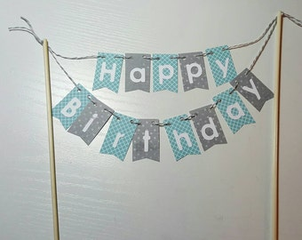 "Cake Bunting, ""Teen"", Teal & Gray, Happy Birthday, Cake Topper, Paper banner"