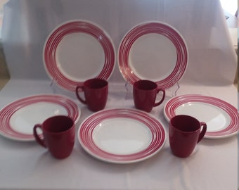 12 Piece Corelle Brushed Red Dinnerware Set
