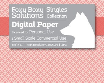 Moroccan Digital Paper - Single Sheet in Pink and Light Pink - Printable Scrapbooking Paper