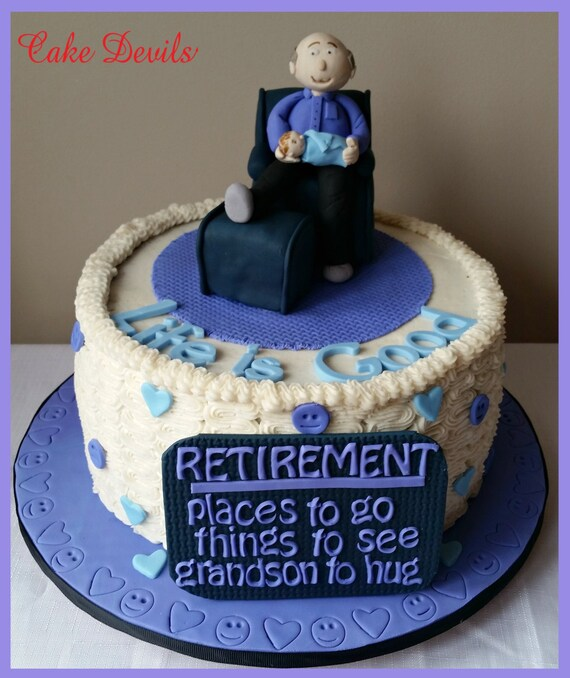 Retirement Cake Topper Man Cake in Chair Topper Fondant