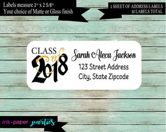Graduation Graduate  Class of 2018  Party Invitation Announcements Return Address Labels Personalized ~ We Print and Mail to You