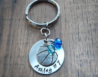 Hand Stamped Personalized Basketball Keychain - Basketball Gifts - Basketball Gift - Girls Basketball Gift - Basketball Senior Night