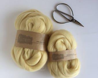 Organic Merino Wool Roving 604 Custard