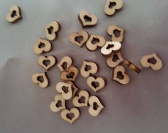 Wooden heart embellishments