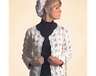 Crochet Pattern Jacket & Beret, Flower Motif Sweater and Hat Pattern Womens Open Cardigan Instant Download PDF - C97