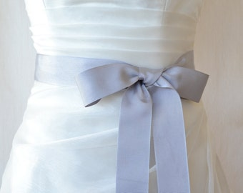 Grey Grosgrain Ribbon, 1.5 Inch Wide, Grey Ribbon Bridal Sash